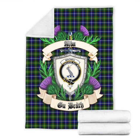 MacNeill of Barra Ancient Crest Tartan Blanket Thistle  | Tartan Home Decor | Scottish Clan