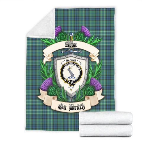 MacNeill of Colonsay Ancient Crest Tartan Blanket Thistle  | Tartan Home Decor | Scottish Clan