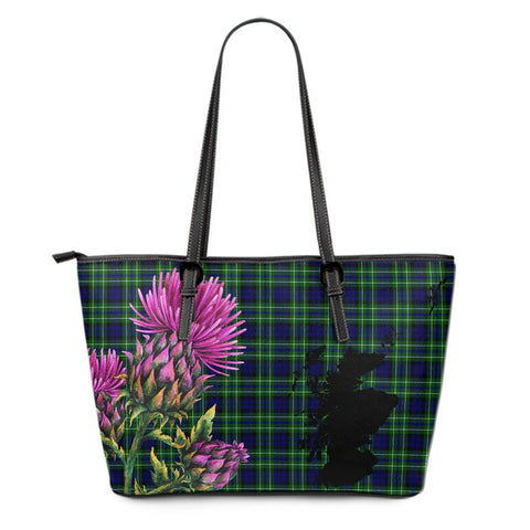 MacNeill of Colonsay Ancient Tartan Leather Tote Bag Thistle Scotland Maps A91
