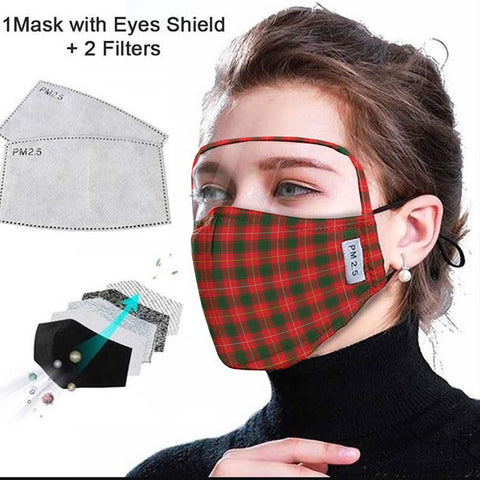 Image of MacPhee Modern Tartan Face Mask With Eyes Shield - Red & Green  Plaid Mask TH8