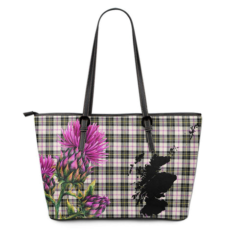 MacPherson Dress Ancient Tartan Leather Tote Bag Thistle Scotland Maps A91
