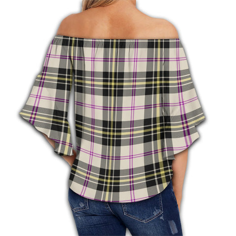 MacPherson Dress Ancient Tartan Crest Off Shoulders Wrap Waist Top