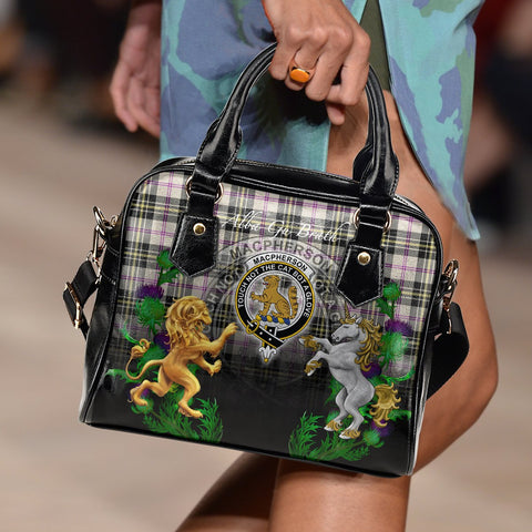 Image of MacPherson Dress Ancient Crest Tartan Lion Unicorn Thistle Shoulder Handbag A30