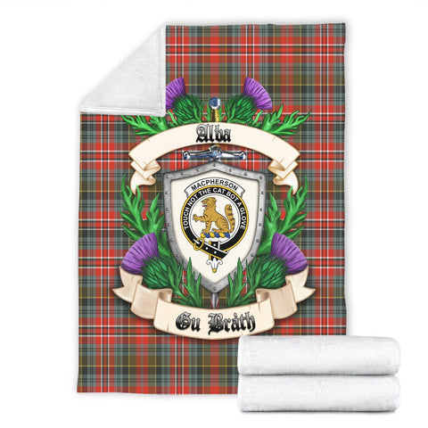 MacPherson Weathered Crest Tartan Blanket Thistle  | Tartan Home Decor | Scottish Clan