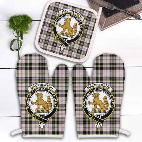 Image of MacPherson Dress Ancient Clan Crest Tartan Scotland Oven Mitt And Pot-Holder (Set Of Two)