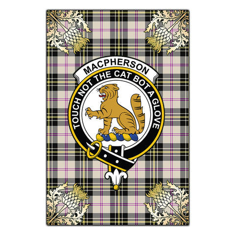 Garden Flag MacPherson Dress Ancient Clan Crest Gold Thistle New