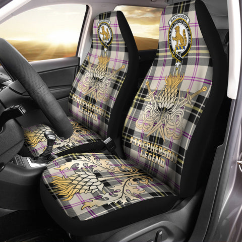 Image of Car Seat Cover MacPherson Dress Ancient Clan Crest Gold Thistle Courage Symbol