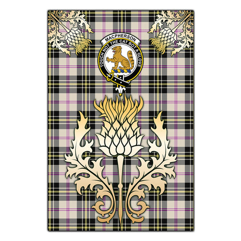 Garden Flag MacPherson Dress Ancient Clan Crest Gold Thistle
