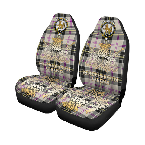 Image of Car Seat Cover MacPherson Dress Ancient Clan Crest Gold Thistle Courage Symbol K9