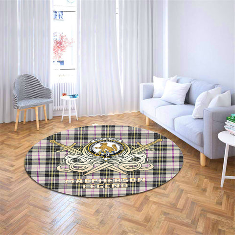 Image of MacPherson Dress Ancient Clan Crest Tartan Courage Sword Round Rug