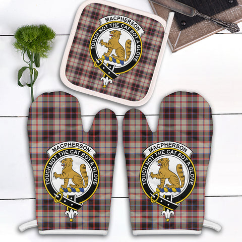 MacPherson Hunting Ancient Clan Crest Tartan Scotland Oven Mitt And Pot-Holder (Set Of Two)