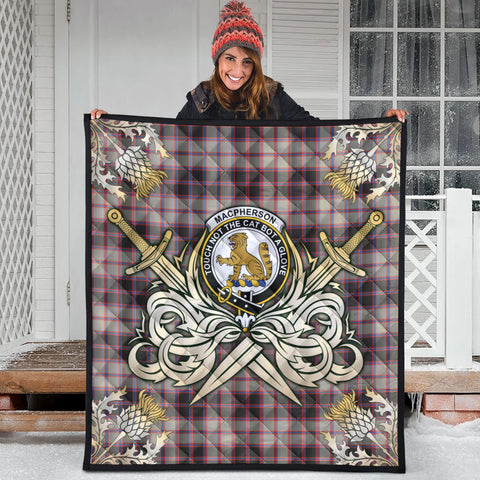 MacPherson Hunting Ancient Clan Crest Tartan Scotland Thistle Symbol Gold Royal Premium Quilt