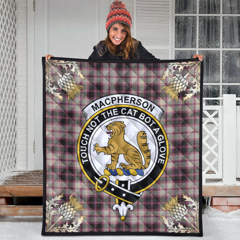 Image of MacPherson Hunting Ancient Clan Crest Tartan Scotland Thistle Gold Pattern Premium Quilt