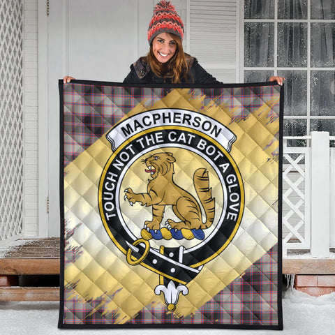 Image of MacPherson Hunting Ancient Clan Crest Tartan Scotland Gold Royal Premium Quilt