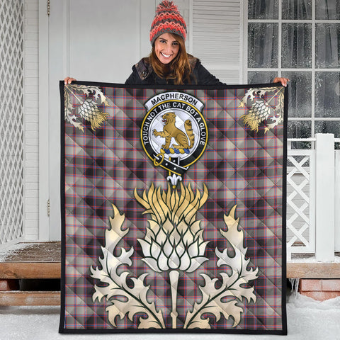 MacPherson Hunting Ancient Clan Crest Tartan Scotland Thistle Gold Royal Premium Quilt