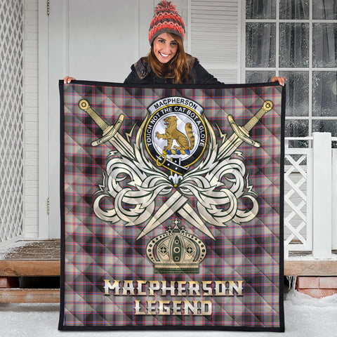 Image of MacPherson Hunting Ancient Clan Crest Tartan Scotland Clan Legend Gold Royal Premium Quilt