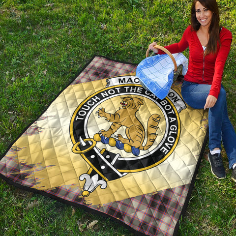 Image of MacPherson Hunting Ancient Clan Crest Tartan Scotland Gold Royal Premium Quilt K9