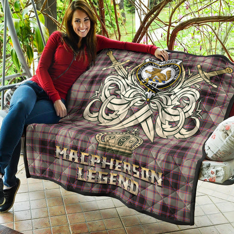 Image of MacPherson Hunting Ancient Clan Crest Tartan Scotland Clan Legend Gold Royal Premium Quilt K9
