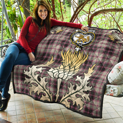 MacPherson Hunting Ancient Clan Crest Tartan Scotland Thistle Gold Royal Premium Quilt K9