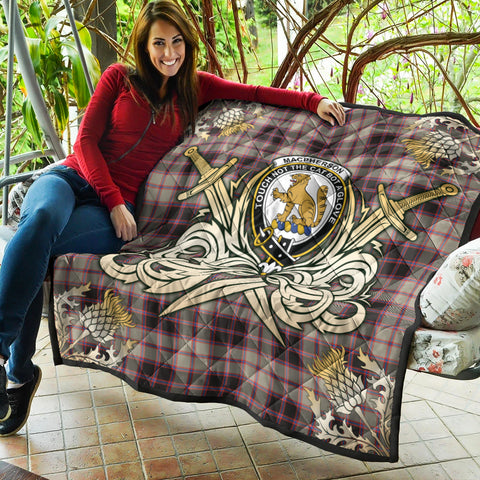 Image of MacPherson Hunting Ancient Clan Crest Tartan Scotland Thistle Symbol Gold Royal Premium Quilt K9