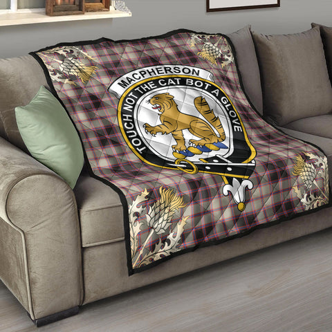 Image of MacPherson Hunting Ancient Clan Crest Tartan Scotland Thistle Gold Pattern Premium Quilt K9