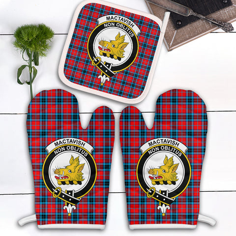 MacTavish Modern Clan Crest Tartan Scotland Oven Mitt And Pot-Holder (Set Of Two)