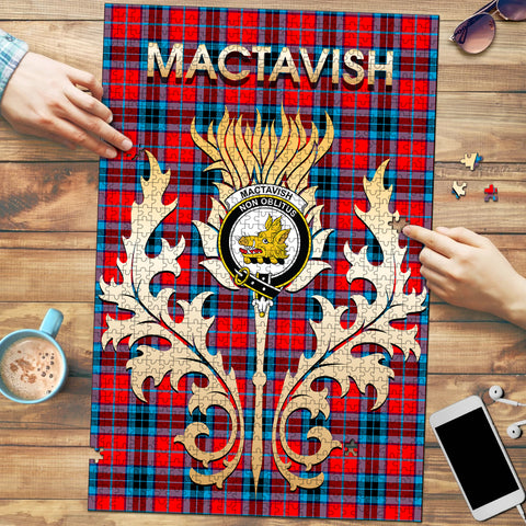 Image of MacTavish Modern Clan Name Crest Tartan Thistle Scotland Jigsaw Puzzle