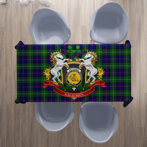 Image of MacThomas Modern Crest Tartan Tablecloth Unicorn Thistle | Home Decor