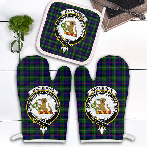 Image of MacThomas Modern Clan Crest Tartan Scotland Oven Mitt And Pot-Holder (Set Of Two)