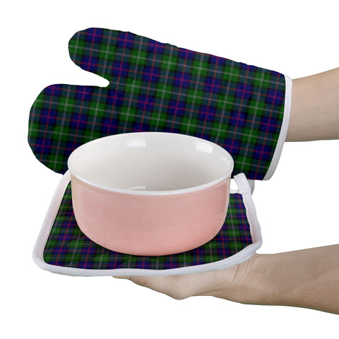 Image of MacThomas Modern Clan Tartan Scotland Oven Mitt And Pot-Holder (Set Of Two)