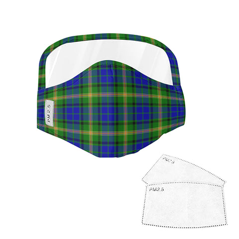 Maitland Tartan Face Mask With Eyes Shield - Green & Blue  Plaid Mask TH8