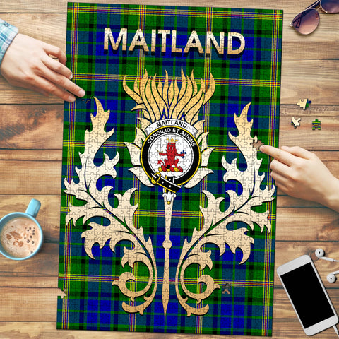 Image of Maitland Clan Name Crest Tartan Thistle Scotland Jigsaw Puzzle