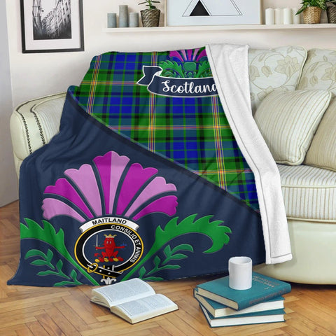 Maitland Crest Tartan Blanket Scotland Thistle | Tartan Home Decor | Scottish Clan