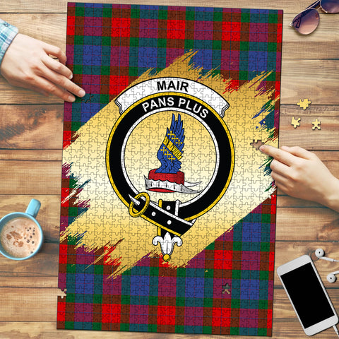 Image of Mar Clan Crest Tartan Jigsaw Puzzle Gold
