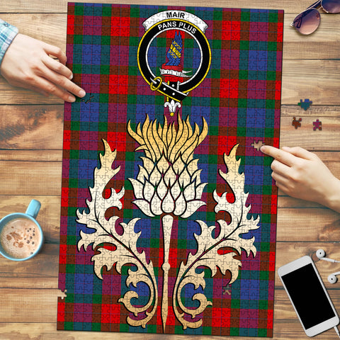 Image of Mar Clan Crest Tartan Thistle Gold Jigsaw Puzzle