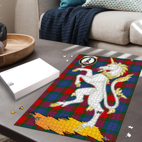 Mar Clan Crest Tartan Unicorn Scotland Jigsaw Puzzle