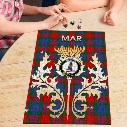 Image of Mar Clan Name Crest Tartan Thistle Scotland Jigsaw Puzzle