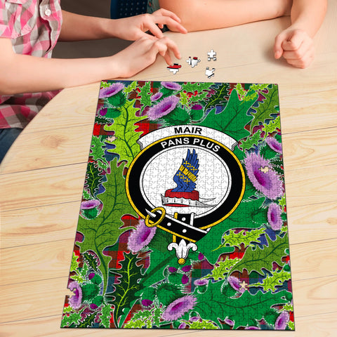 Image of Mar Clan Crest Tartan Thistle Pattern Scotland Jigsaw Puzzle