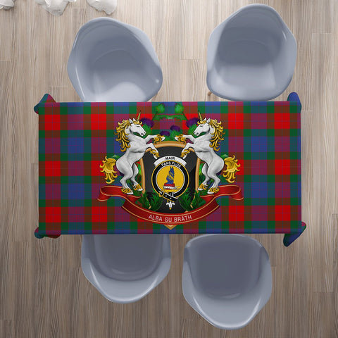 Image of Mar Crest Tartan Tablecloth Unicorn Thistle | Home Decor