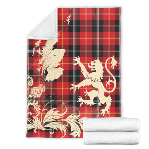 Mar Tartan Scotland Lion Thistle Map Premium Blanket