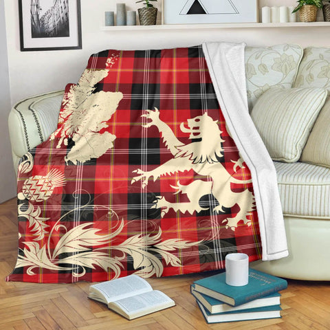 Mar Tartan Scotland Lion Thistle Map Premium Blanket Hj4