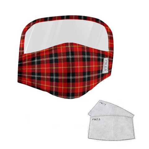 Marjoribanks Tartan Face Mask With Eyes Shield - Red & Black  Plaid Mask TH8