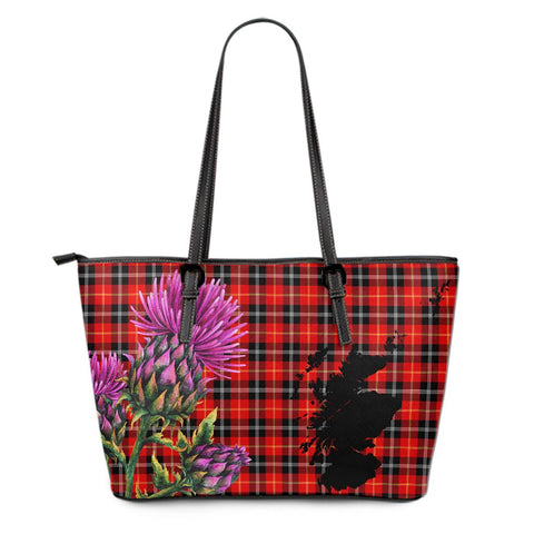 Marjoribanks Tartan Leather Tote Bag Thistle Scotland Maps A91