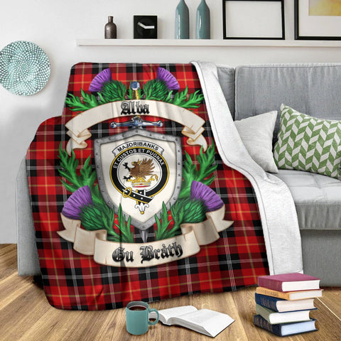 Marjoribanks Crest Tartan Blanket Thistle  | Tartan Home Decor | Scottish Clan