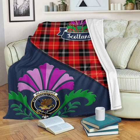 Marjoribanks Crest Tartan Blanket Scotland Thistle | Tartan Home Decor | Scottish Clan