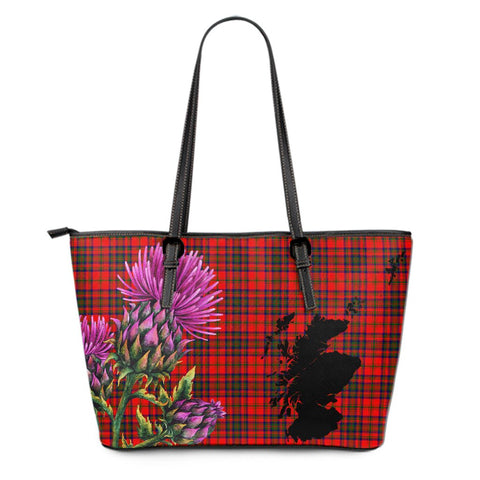 Matheson Modern Tartan Leather Tote Bag Thistle Scotland Maps A91