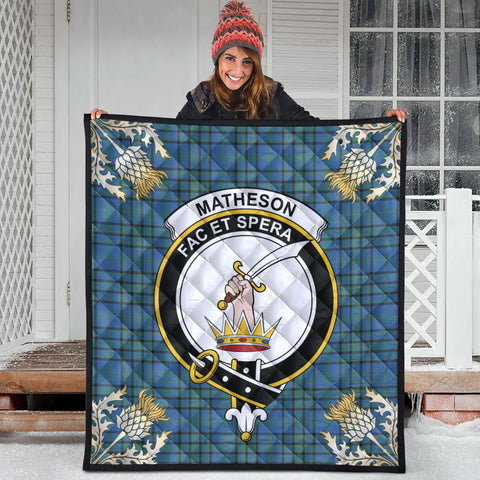 Image of Matheson Hunting Ancient Clan Crest Tartan Scotland Thistle Gold Pattern Premium Quilt