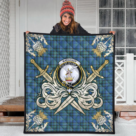 Image of Matheson Hunting Ancient Clan Crest Tartan Scotland Thistle Symbol Gold Royal Premium Quilt