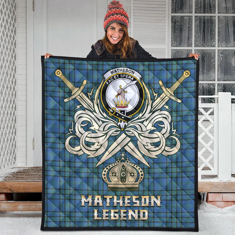 Image of Matheson Hunting Ancient Clan Crest Tartan Scotland Clan Legend Gold Royal Premium Quilt