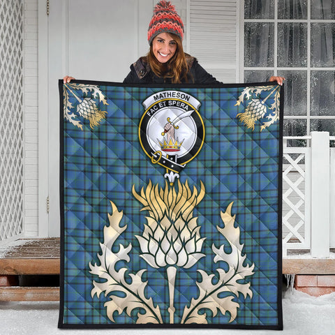 Matheson Hunting Ancient Clan Crest Tartan Scotland Thistle Gold Royal Premium Quilt